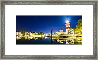 Harbor Town Yacht Basin Light House Hilton Head South Carolina Framed Print by Dustin K Ryan