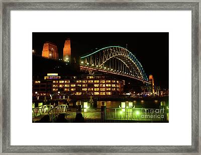 Harbour Bridge Aqua Gold Vivid Sydney 2016 By Kaye Menner Framed Print by Kaye Menner