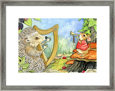 Harcourt Hedgehog And His Harp Framed Print by Pamela Harden