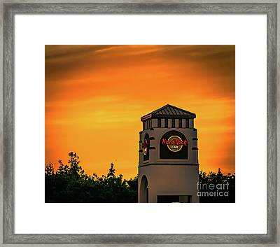 Hard Rock Cafe At Sunset Framed Print by Claudia M Photography