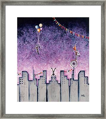 Harlequins Festival Framed Print by Graciela Bello