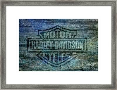 Harley Davidson Logo Weathered Wood Framed Print by Randy Steele