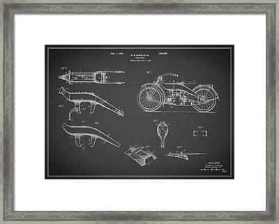 Harley Davidson Motorcycle Patent 1924 Framed Print by Mark Rogan