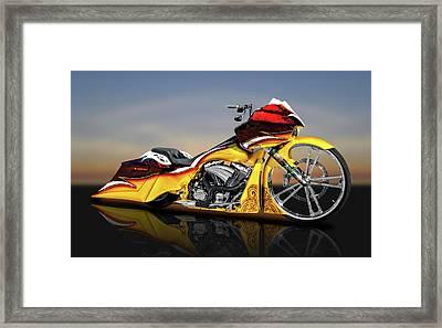 Harley Davidson Road Glide Custom Bagger Motorcycle  -  Hdrdglreflect9506 Framed Print by Frank J Benz