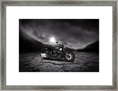 Harley Davidson V-rod 2013  Mountains Framed Print by Aged Pixel