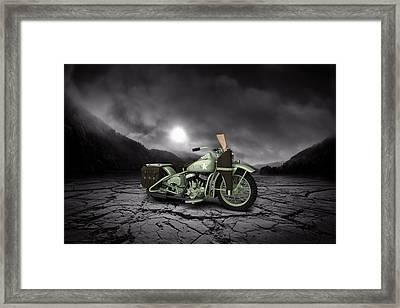 Harley Davidson Wla 1942 Mountains Framed Print by Aged Pixel