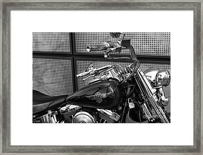 Harley Handles In Hamburg Mono Framed Print by John Rizzuto