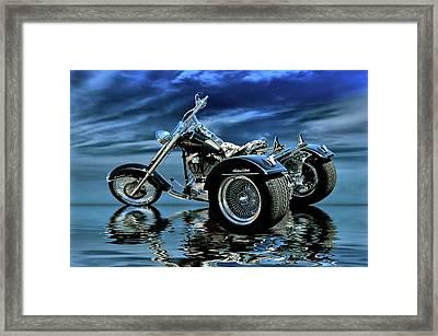 Harley Heritage Soft Tail Trike Framed Print by Steven Agius