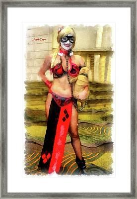 Harley Quinn At Star Wars Framed Print by Leonardo Digenio