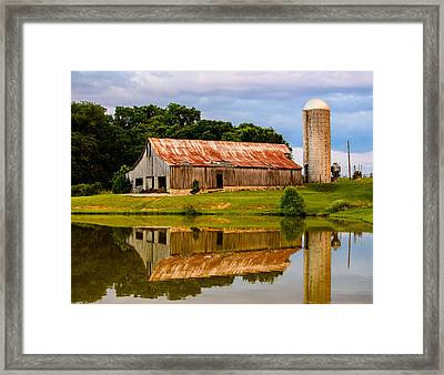 Harlinsdale Barn Reflection Framed Print by Jim Diamond