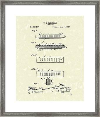 Harmonica Fairfield 1897 Patent Art Framed Print by Prior Art Design