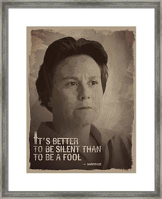 Harper Lee Quote Framed Print by Afterdarkness