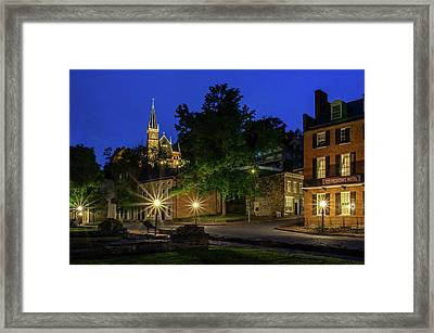 Harpers Ferry At Night Framed Print by Robert Powell