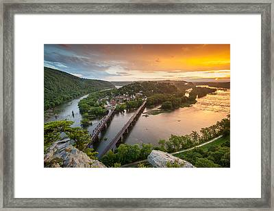 Harpers Ferry National Historical Park Maryland Heights Sunset Framed Print by Mark VanDyke