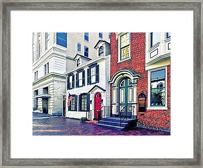 Harrisburg Pa - Street With American Flag Framed Print by Susan Savad