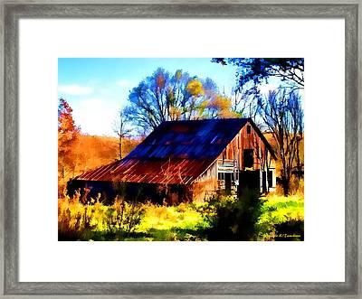 Harrison Barn Framed Print by Kathy Tarochione