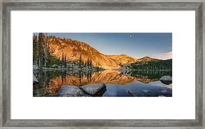 Harrison Lake Panoramic Framed Print by Leland D Howard