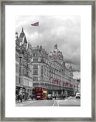 Harrods Of Knightsbridge Bw Hdr Framed Print by David French