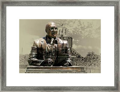 Harry Caray Statue With Historic Wrigley Scoreboard In Heirloom Framed Print by Thomas Woolworth