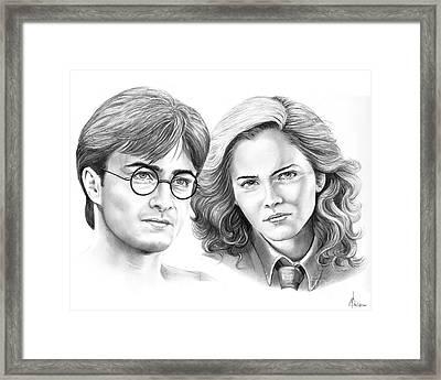 Harry Potter And Hermione Framed Print by Murphy Elliott