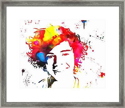 Harry Styles Paint Splatter Framed Print by Dan Sproul