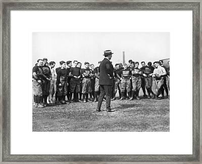 Harvard Football Practice Framed Print by Underwood Archives