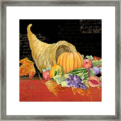 Harvest Cornucopia Of Blessings - Pumpkin Pomegranate Grapes Apples Framed Print by Audrey Jeanne Roberts
