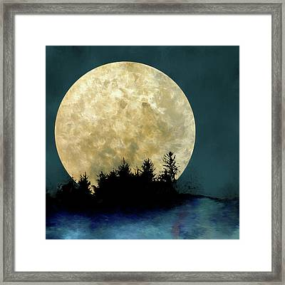 Harvest Moon And Tree Silhouettes Framed Print by Carol Leigh