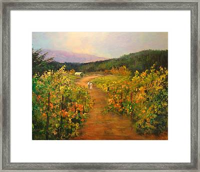 Harvest Walk Framed Print by Sally Seago