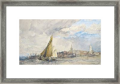 Harwich From The Sea Framed Print by Charles Bentley