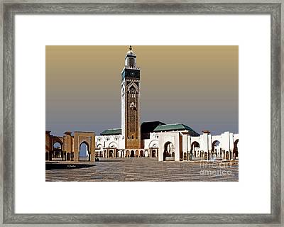 Hassan II Mosque - Morocco Framed Print by Linda  Parker