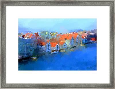 Haugesund Harbour Norway Framed Print by Michael Greenaway