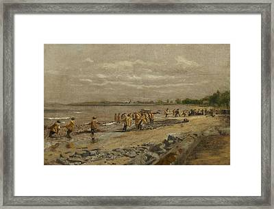 Hauling The Seine Framed Print by Thomas Eakins