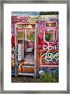 Haunted Graffiti Art Bus Framed Print by Susan Candelario