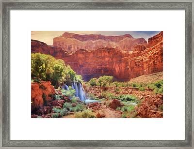 Havasu Canyon - Upper Navajo Falls Framed Print by Lori Deiter