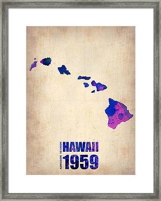 Hawaii Watercolor Map Framed Print by Naxart Studio