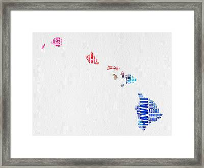 Hawaii Watercolor Word Cloud  Framed Print by Naxart Studio