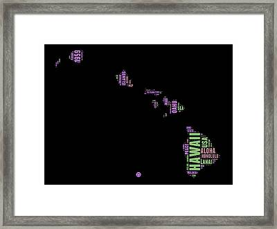 Hawaii Word Cloud 1 Framed Print by Naxart Studio