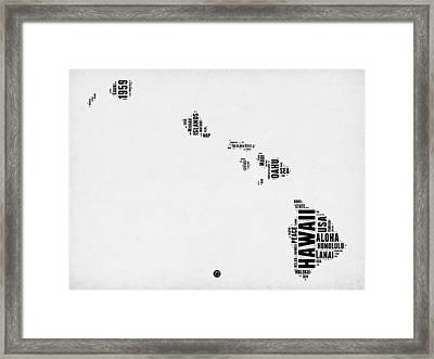 Hawaii Word Cloud 2 Framed Print by Naxart Studio