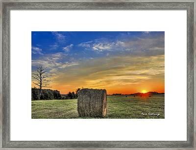 Hay Down Sunset Framed Print by Reid Callaway