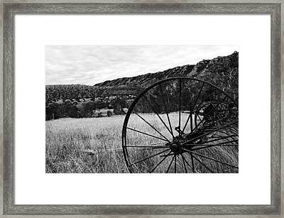 Hay Rake At The Ewing-snell Ranch Framed Print by Larry Ricker