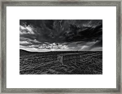 Hay Storm Black And White Framed Print by Mark Kiver