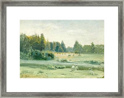 Hayricks By The River Framed Print by MotionAge Designs