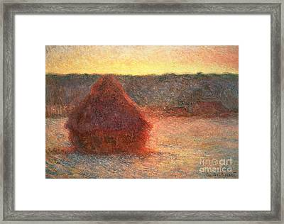 Haystacks At Sunset Framed Print by Claude Monet