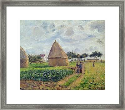 Haystacks Framed Print by Camille Pissarro