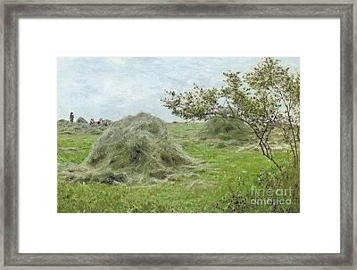 Haystacks Framed Print by John Clayton Adams