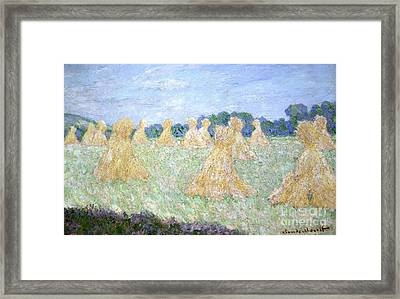 Haystacks The Young Ladies Of Giverny Sun Effect Framed Print by Claude Monet