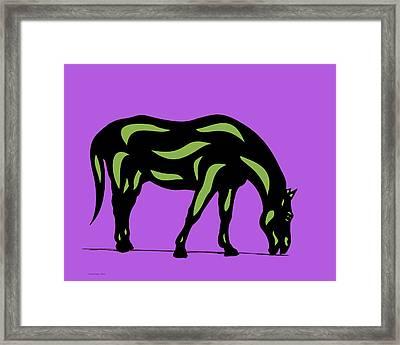 Hazel - Pop Art Horse - Black, Greenery, Purple Framed Print by Manuel Sueess