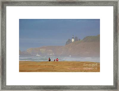 Hazy Day At The Beach Framed Print by Michele Martin
