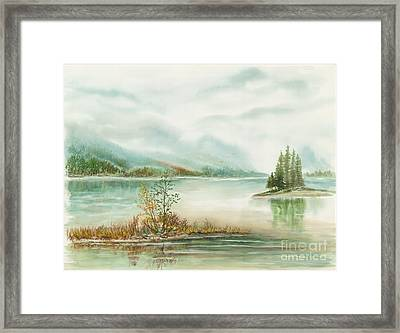 Hazy On The Lake Framed Print by Samuel Showman